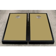 Victory Tailgate Matching Border Cornhole Bean Bag Toss Game; Dark Gold with Black Trim