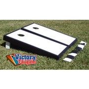 Victory Tailgate Matching Border Cornhole Bean Bag Toss Game; White with Black Trim