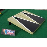 Victory Tailgate Matching Triangle Cornhole Bean Bag Toss Game; Black and Light Gold