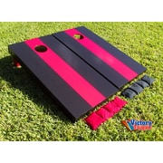 Victory Tailgate Matching Striped Cornhole Bean Bag Toss Game; Black and Red without Stripes