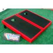 Victory Tailgate Matching Border Cornhole Bean Bag Toss Game; Black with Red Trim