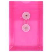JAM Paper Button & String Plastic Envelope, 4.25 x 6.25, Fuchsia