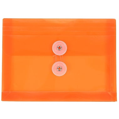 JAM Paper® Plastic Envelopes with Button and String Tie Closure, Index Booklet, 5.25 x 7.5, Orange Poly, 12/pack (920B1OR)