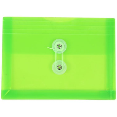 JAM Paper® Plastic Envelopes with Button and String Tie Closure, Index Booklet, 5.25 x 7.5, Lime Green Poly, 12/pack (920B1LI)