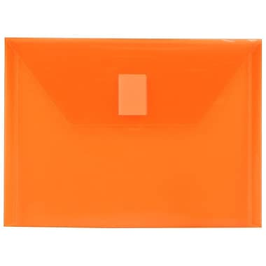 JAM Paper® Plastic Envelopes with VELCRO® Brand Closure, Index Booklet, 5.5 x 7.5, Orange Poly, 12/Pack (920V0OR)