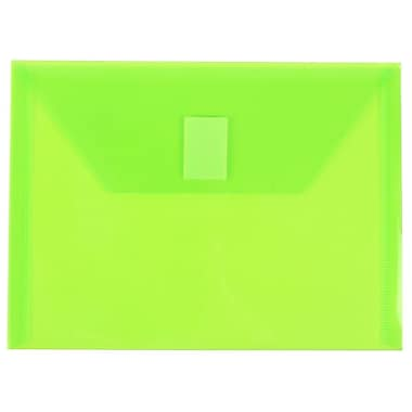 JAM Paper® Plastic Envelopes with VELCRO® Brand Closure, Index Booklet, 5.5 x 7.5, Lime Green Poly, 12/Pack (920V0LI)