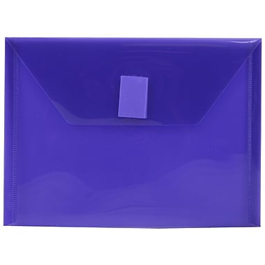 JAM Paper® Plastic Envelopes with VELCRO® Brand Closure, Index Booklet, 5.5 x 7.5, Purple Poly, 12/Pack (920V0PU)