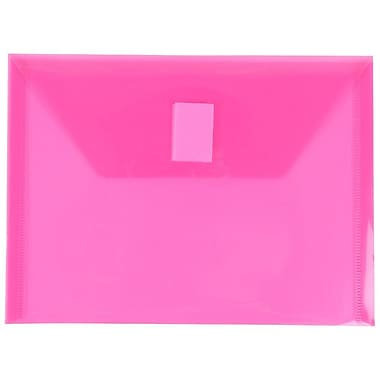 JAM Paper® Plastic Envelopes with VELCRO® Brand Closure, Index Booklet, 5.5 x 7.5, Fuchsia Pink Poly, 12/Pack (920V0FU)