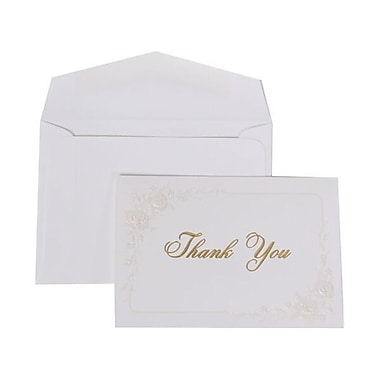 JAM Paper® Thank You Cards Set, Pearl Roses with White Envelope, 104 Note Cards with 100 Envelopes (52665000)