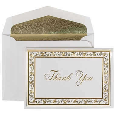 JAM Paper® Thank You Cards Set, Gold Acanthus with Gold Paisley Lined Envelope, 104 Note Cards with 100 Envelopes (52691512GP)