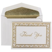 JAM Paper® Gold Acanthus Thank You Card with Envelope Set, Gold Paisley Lined, 100/Pack