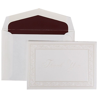 JAM Paper® Thank You Cards Set, Pearl Acanthus with Burgundy Lined Envelope, 104 Note Cards with 100 Envelopes (52691522BU)