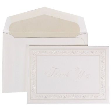JAM Paper® Thank You Cards Set, Pearl Acanthus with Crystal Lined Envelope, 104 Note Cards with 100 Envelopes (52691522CR)
