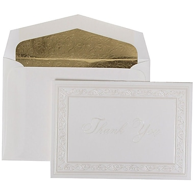 JAM Paper® Thank You Cards Set, Pearl Acanthus with Gold Leaves Lined Envelope, 104 Note Cards with 100 Envelopes (52691522GL)