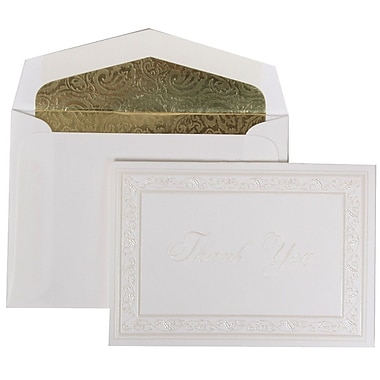 JAM Paper® Thank You Cards Set, Pearl Acanthus with Gold Paisley Lined Envelope, 104 Note Cards with 100 Envelopes (52691522GP)