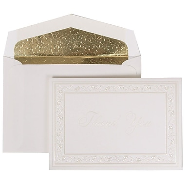 JAM Paper® Thank You Cards Set, Pearl Lily with Gold Leaves Lined Envelope, 104 Note Cards with 100 Envelopes (52691922GL)