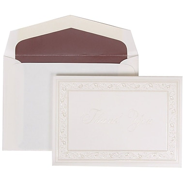 JAM Paper® Thank You Cards Set, Pearl Lily with Mauve, 104 Note Cards with 100 Envelopes (52691922MA)