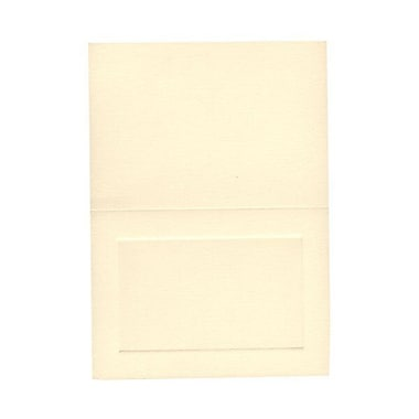 JAM Paper® Blank Foldover Cards, 4bar / A1 size, 3 1/2 x 4 7/8, Ivory Linen with Panel, 100/pack (309878)