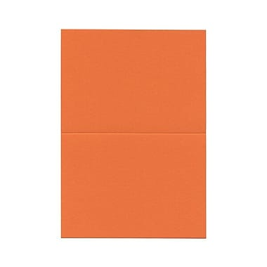 JAM PaperMD – Cartes vierges rabattables, orange, 3,5 x 4,87 po, 100/paquet