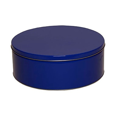 JAM Paper® Metal Tin, Large Round 9.5 x 3.75, Blue Metallic, Sold Individually (WT14555)