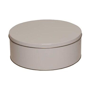 JAM Paper® Metal Tin, Large Round 9.5 x 3.75, White Metallic, Sold Individually (WT13043)