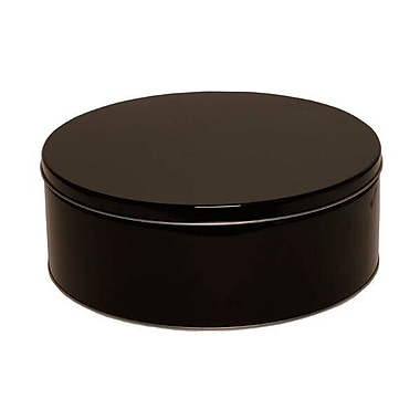 JAM Paper® Metal Tin, Large Round 9.5 x 3.75, Black Metallic, Sold Individually (WT15578)