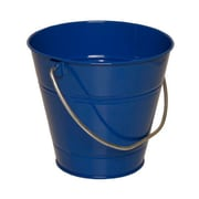 JAM Paper® Solid Blue Large Colorful Metal Pail Buckets - Pack of 6