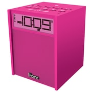 iHome™ IBN180 Rubberized NFC Bluetooth Dual Alarm Clock FM Clock Radio W/USB Charging/Aux In, Pink