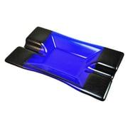 Hot Knobs 2 Cigar Tray; Blue Irid with Silver Border