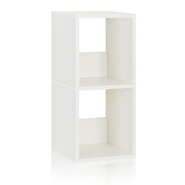 Way Basics Eco-Friendly 2 Shelf Duo Narrow Bookcase Storage Shelf, White - Lifetime Warranty