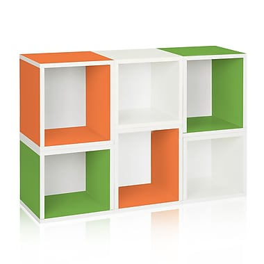 Way Basics Eco-Friendly 6 Stackable Arlington Storage Cubes, White Green Orange - Lifetime Warranty