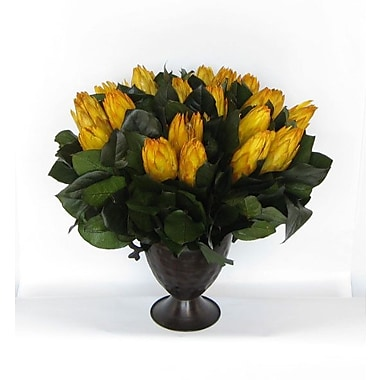 Bougainvillea Metal Trophy Small Vase w/ Protea; Yellow