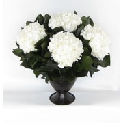 Bougainvillea Metal Trophy Small Vase with Hydrangea; White