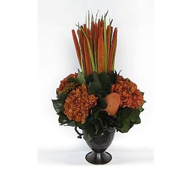 Bougainvillea Metal Trophy Small Vase w/ Pensularia, Banksia and Hydrangea; Rust Brown