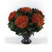Bougainvillea Metal Trophy Small Vase with Hydrangea; Rust Brown