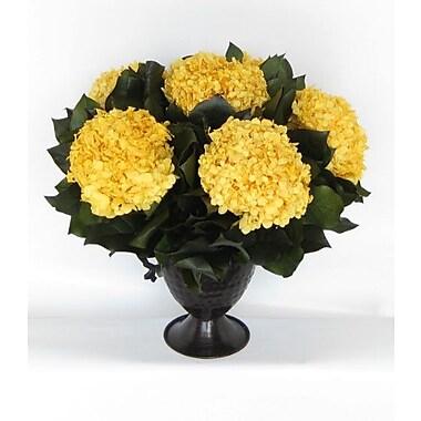 Bougainvillea Metal Trophy Small Vase w/ Hydrangea; Yellow