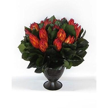 Bougainvillea Metal Trophy Small Vase w/ Protea; Red
