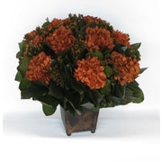 Bougainvillea Copper Square Mini Container with Hydrangea; Rust Brown