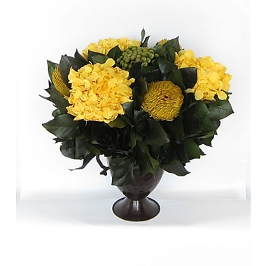 Bougainvillea Metal Trophy Small Vase w/ Brunia, Banksia and Hydrangea; Yellow