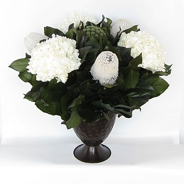 Bougainvillea Metal Trophy Small Vase w/ Brunia, Banksia and Hydrangea; White