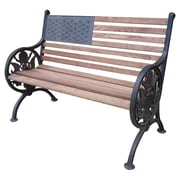 Oakland Living Proud American Wood and Cast Iron Park Bench; Antique Bronze