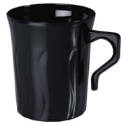Fineline Settings, Inc Flairware Rippled Disposable Plastic 8 oz. Coffee Mug (288/Case); Black