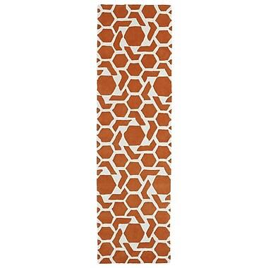 Kaleen Revolution Orange/White Area Rug; 2' x 3'