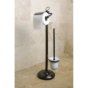 Kingston Brass Vintage Free Standing Pedestal Toilet Paper and Brush Holder; Oil Rubbed Bronze
