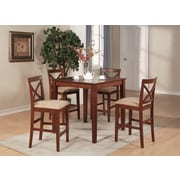 East West 5 Piece Counter Height Pub Table Set; Brown