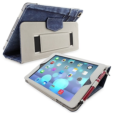 Snugg Leather Flip Stand Cover Case With Elastic Strap For Apple iPad Air/iPad 5, Blue Denim