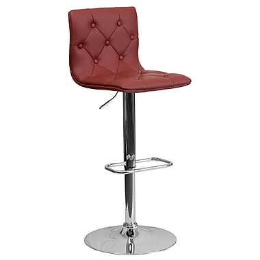 Flash Furniture – Tabouret de bar ajustable contemporain en vinyle matelassé bourgogne et à pied chromé (CH112080BURG)