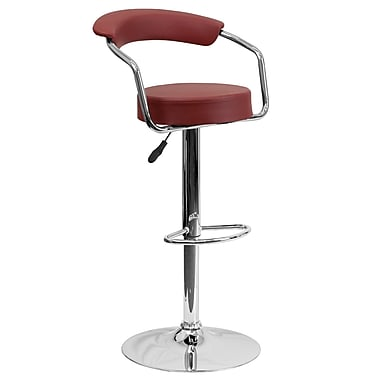 Flash Furniture Adjustable-Height Contemporary Vinyl Barstool, Burgundy with Chrome Arms and Base (CHTC31060BURG)