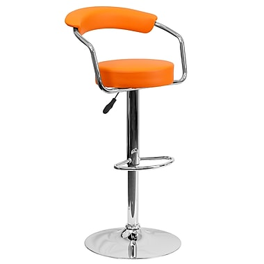 Flash Furniture Adjustable-Height Contemporary Vinyl Barstool, Orange, with Arms and Chrome Base (CHTC31060ORG)