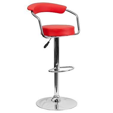 Flash Furniture – Tabouret de bar ajustable en vinyle rouge avec pied et accoudoirs chromés (CHTC31060RED)